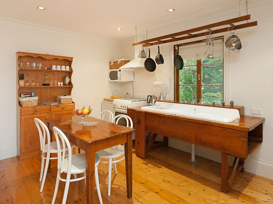 Fully provisioned kitchen made from recycled timber