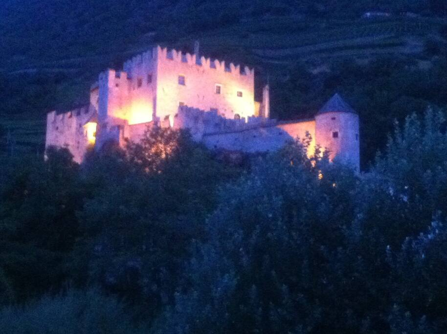 Kastelbell-Castle (from the 12th century) by night. Spectacular view from my place.