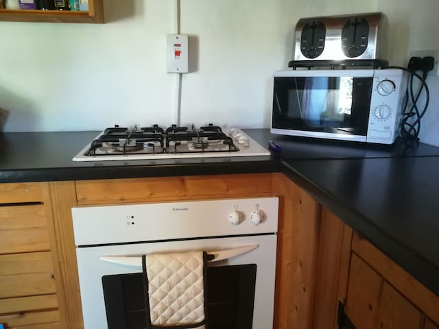 Gas hob with electric oven, microwave and large toaster