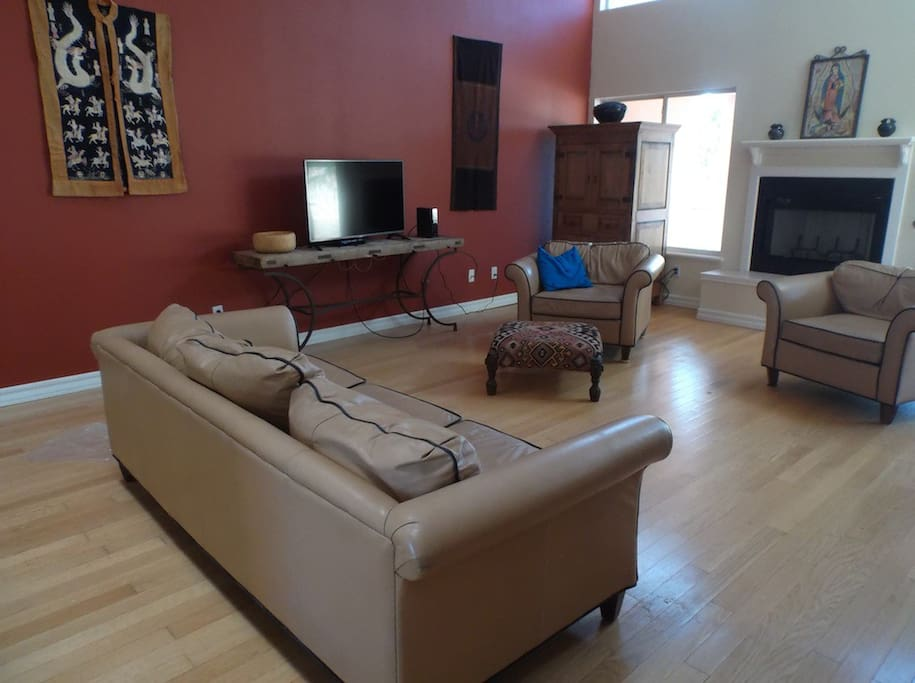 Living room available with cable TV and on demand streaming.