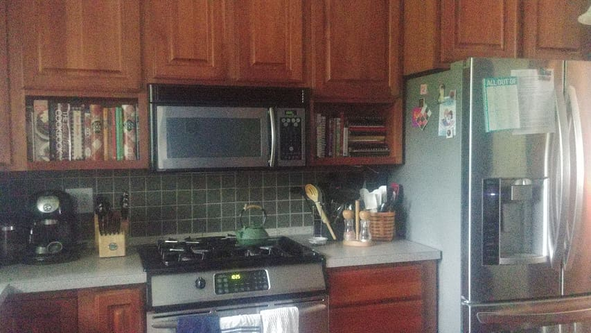 Kitchen stove, microwave, fridge; plenty of cookbooks, if you want a recipe.