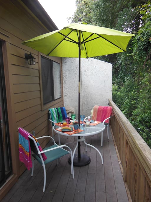 Have breakfast or coffee in the privacy of the back porch.