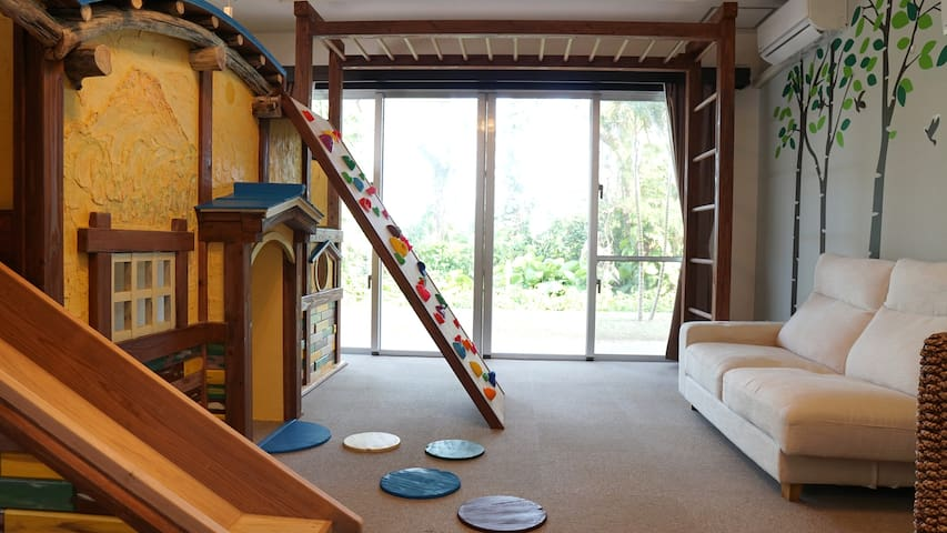 Family Room:Jungle Hut Playroom and Marine Bedroom