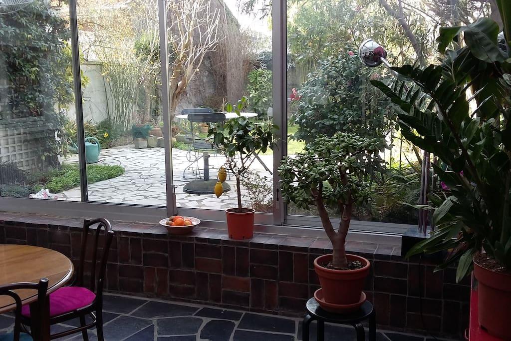 véranda + jardin