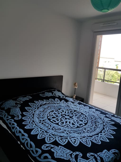 2nd bedroom with double bed and terrace access