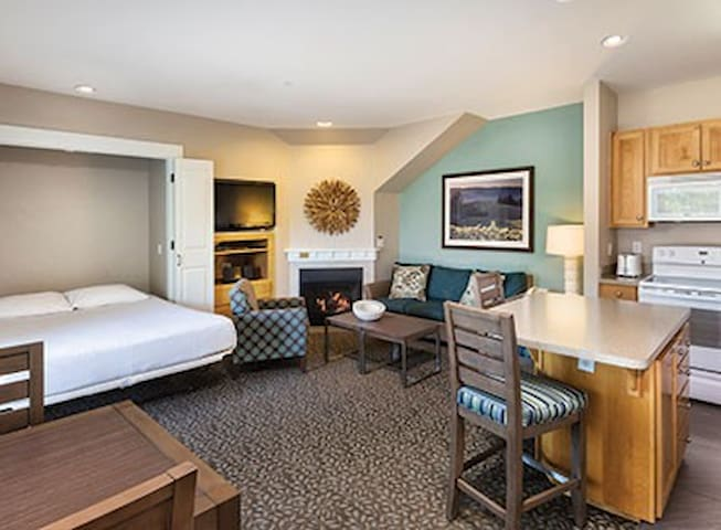 Studio unit has a standard queen size bed in the iving area (murphy bed).
