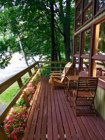 Private deck with Mad River Glen mountain view.