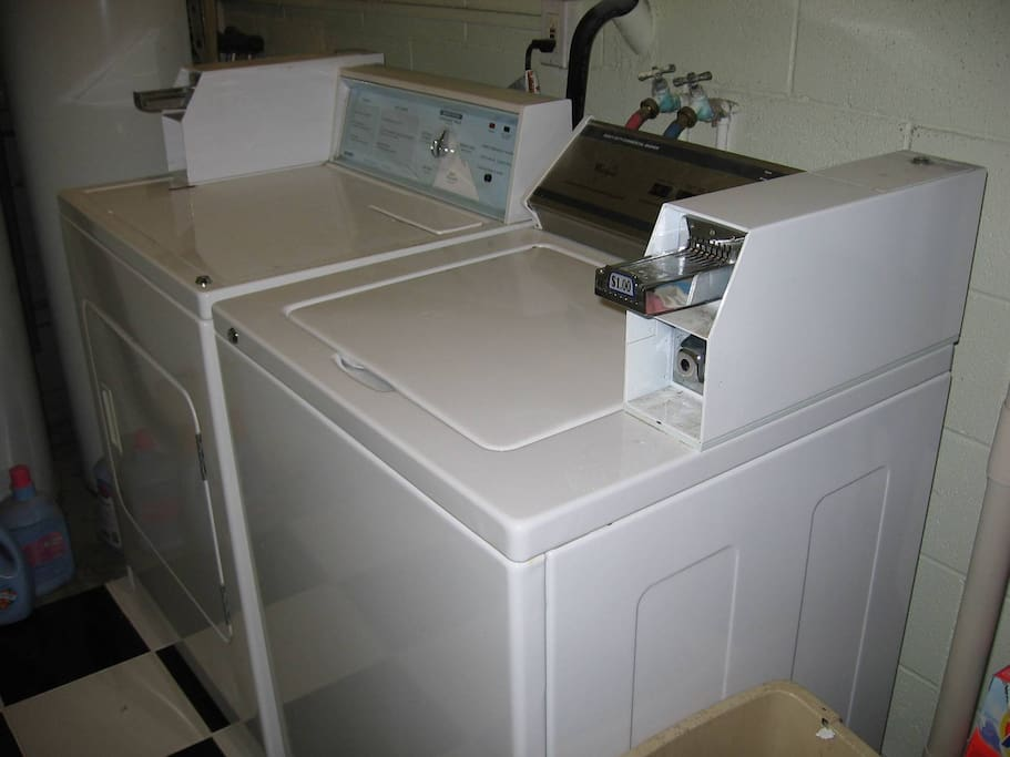 private laundry room, coin op, $1.50 per load