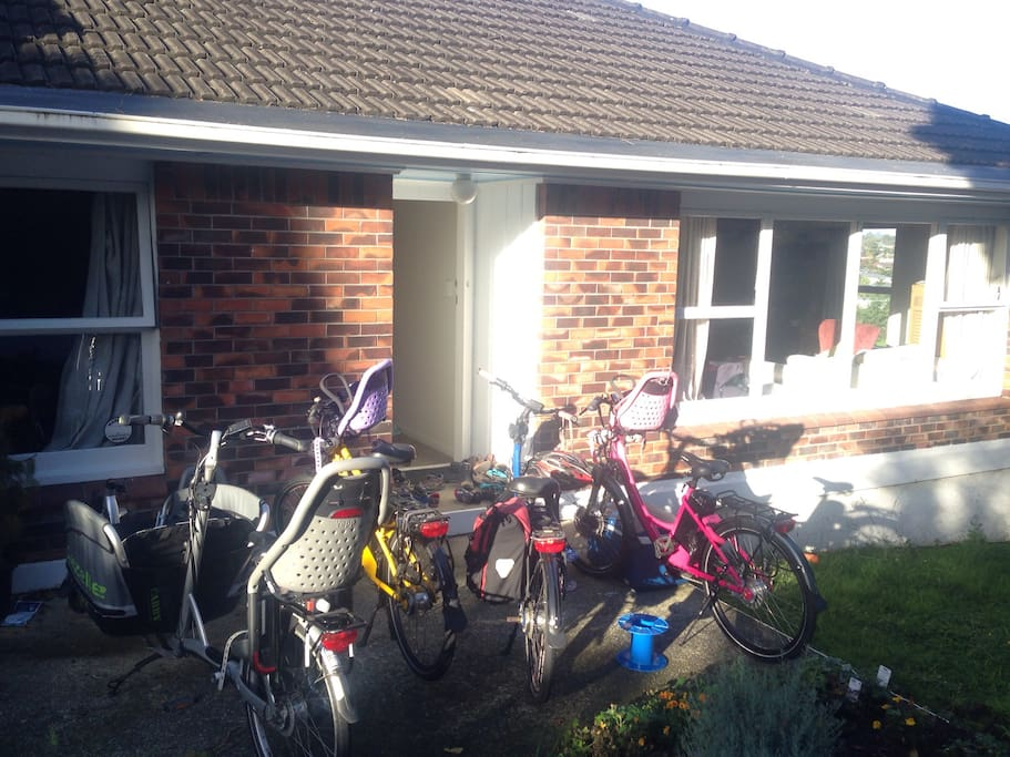 Front of the house. We can provide electric bicycles for your use if requested in advance