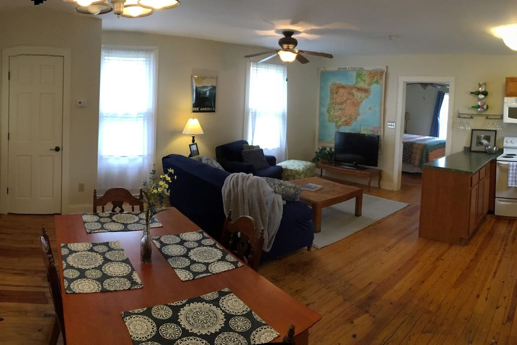 Cozy apartment with HD cable TV, king size bed, and full kitchen.