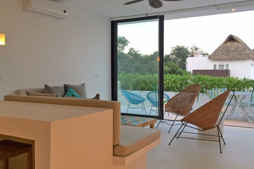 living opens to private terrace