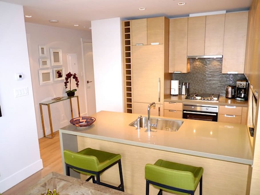 Bright kitchen with high end appliances