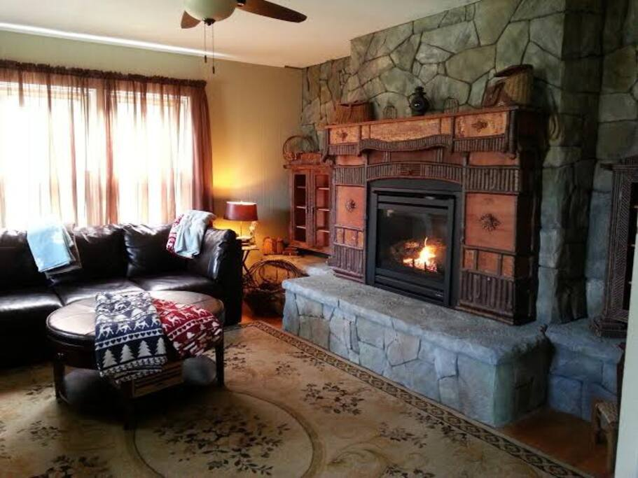 The fireplace room is a cozy room to set and read a book or watch a good movie.