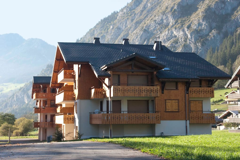 The apartment is the entire top floor of this newly built chalet building (containing 7 apartments)