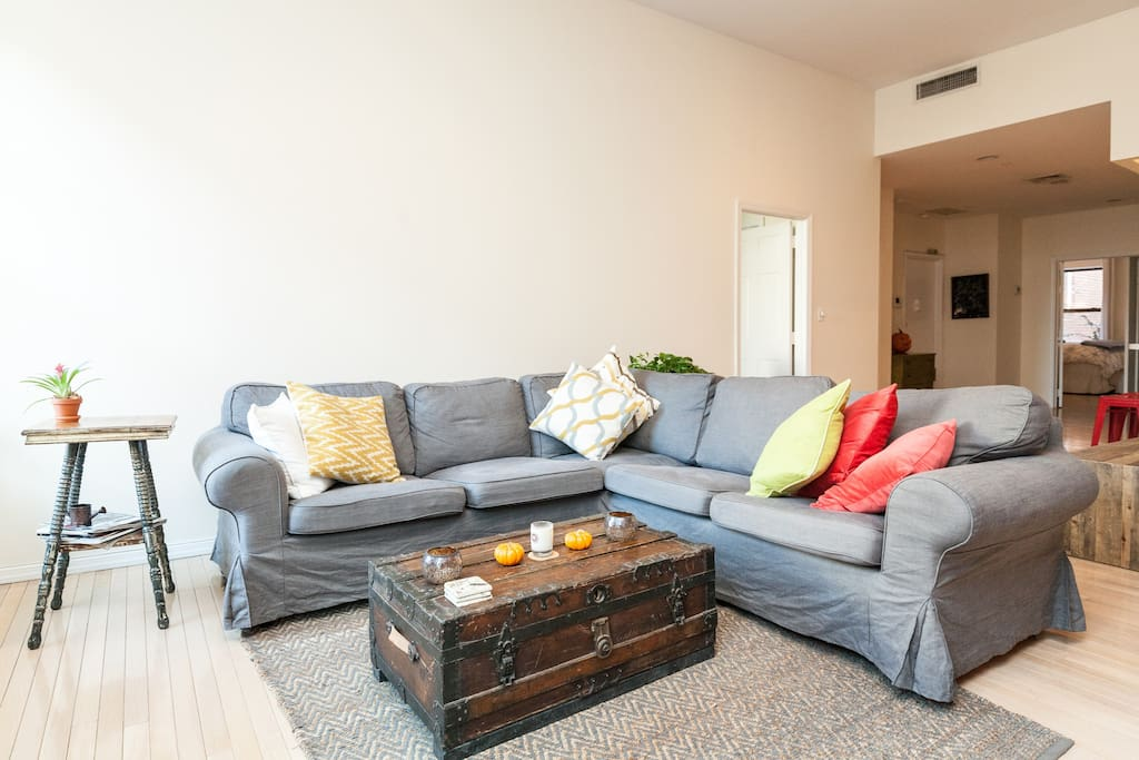 Comfortable, sectional couch - perfect for socializing or relaxing