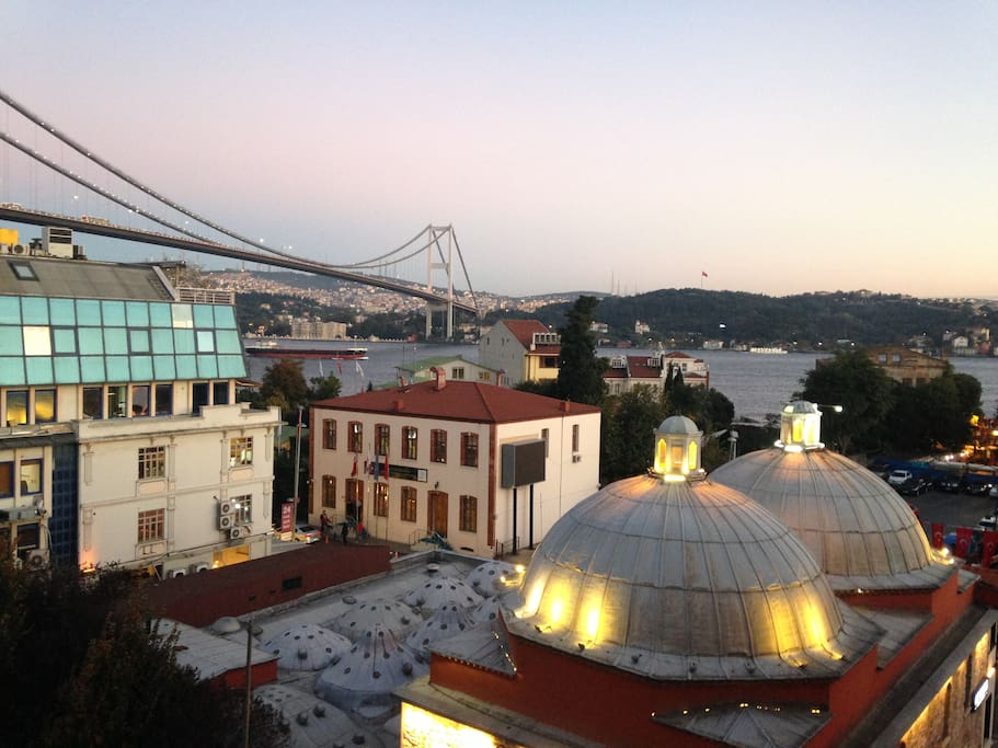 Amazing Bosphorus and Bridge view and Turkish Bath(hammam) from 16th century built by Mimar Sinan(Architecture Sinan)