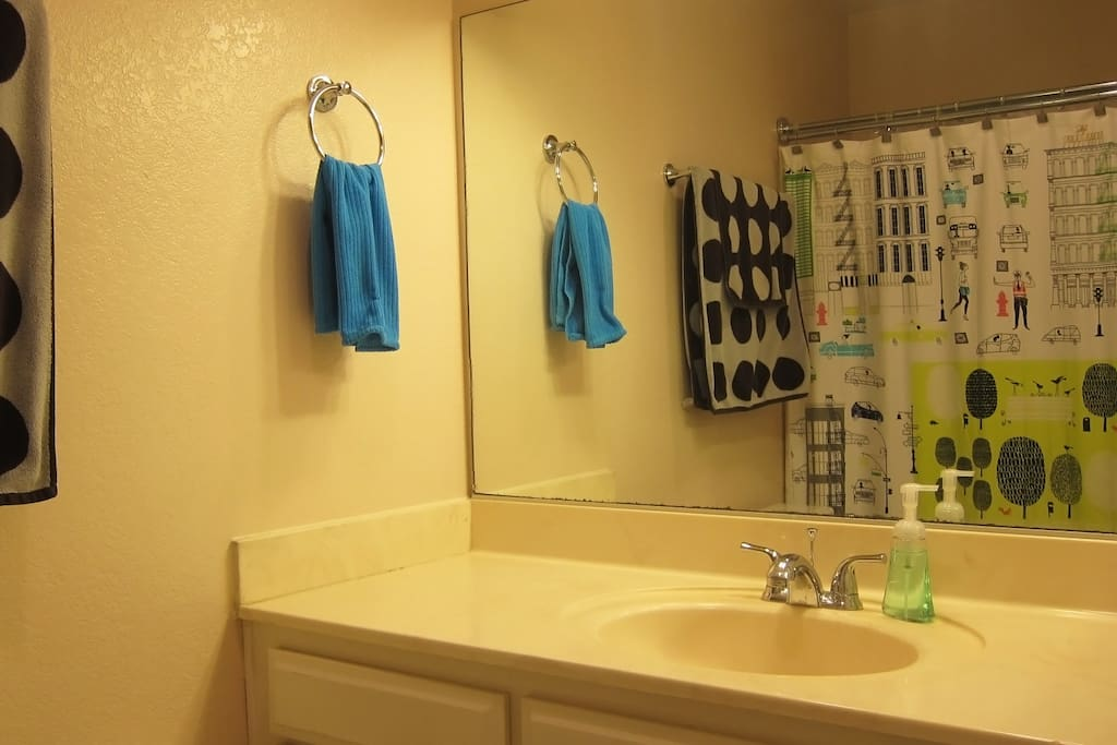 Private bathroom with clean towels
