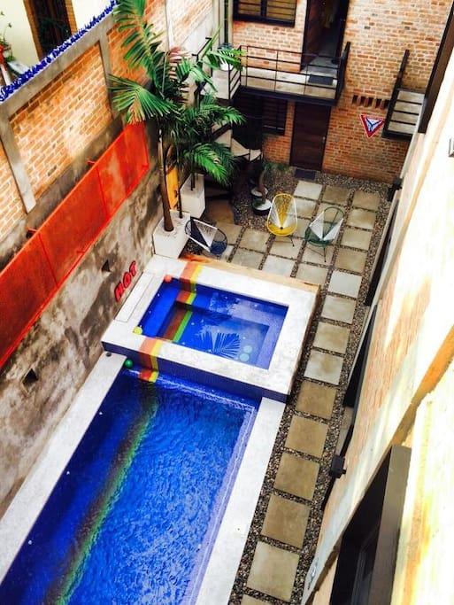 Salt water pool, hot tub jacuzzi.