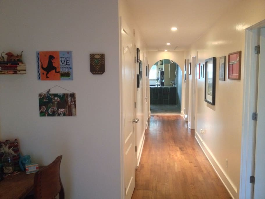 Hallway - guest bedroom is three rooms away from the master so there is privacy