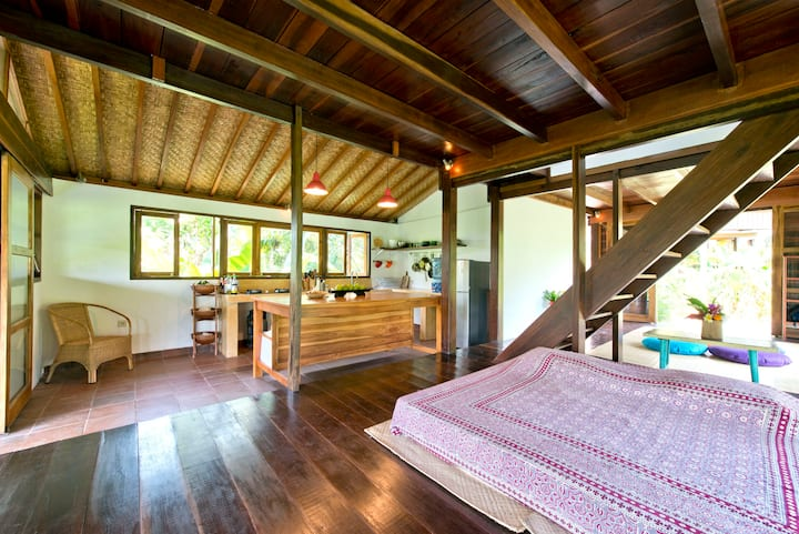 Beautiful wooden house / rice view