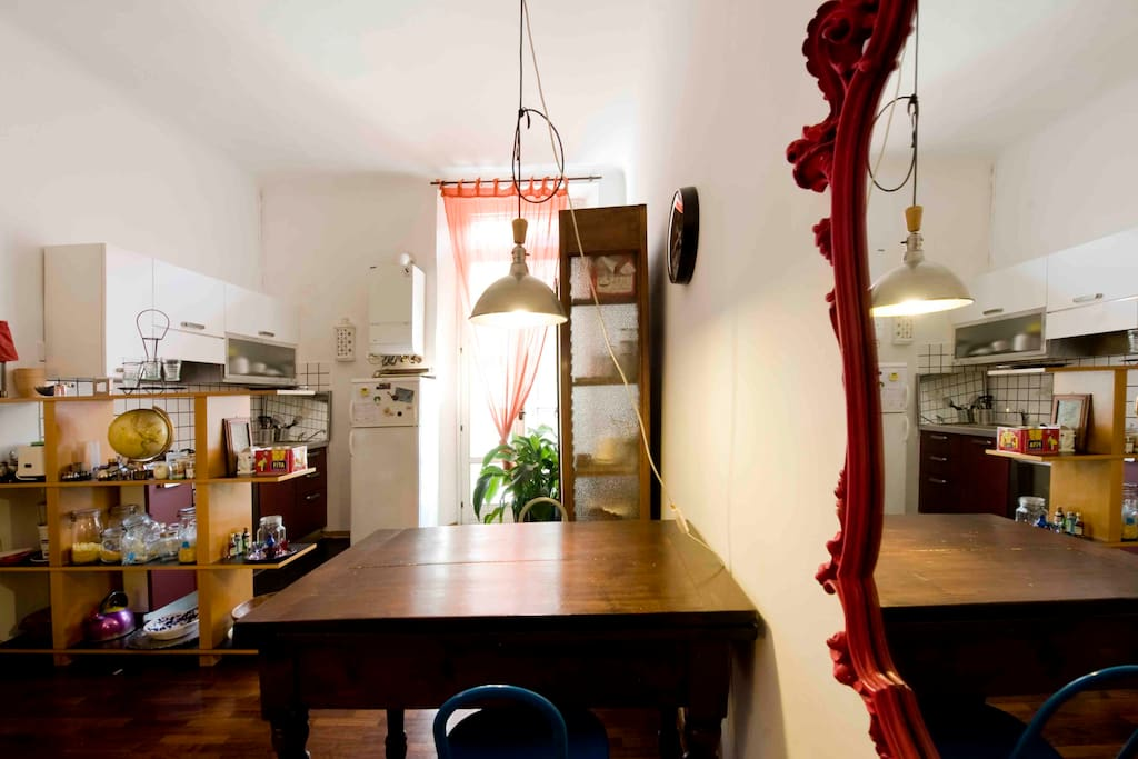 the table, and the kitchen