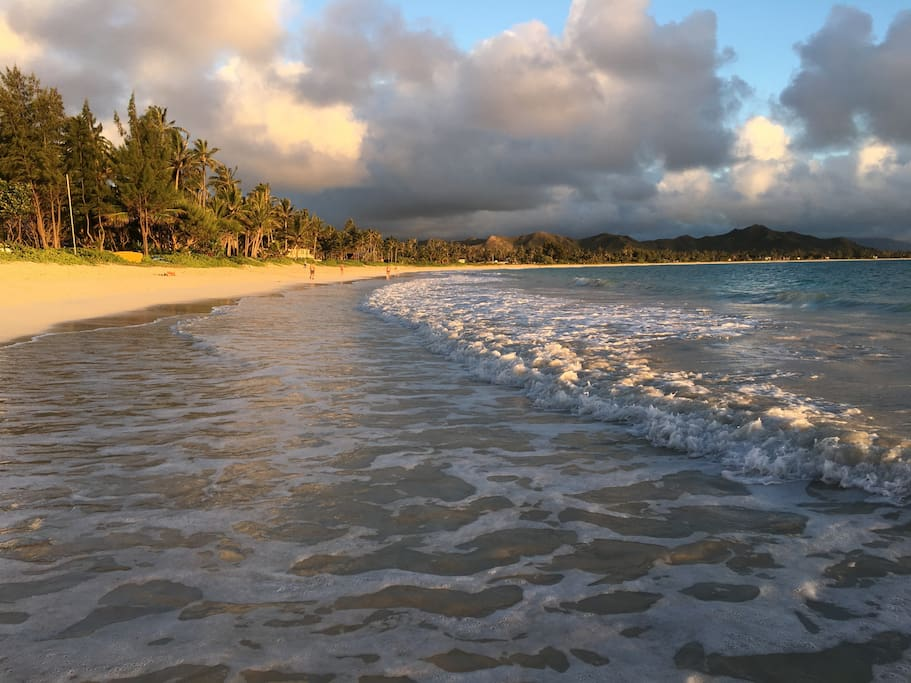 An early morning walk on Kailua beach.  It takes approximately an hour to walk from end to the other