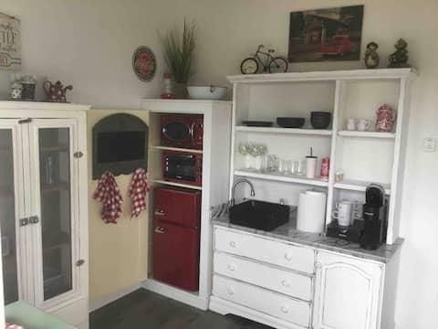 Cozy I-bedroom barn style 50's retro tiny house.