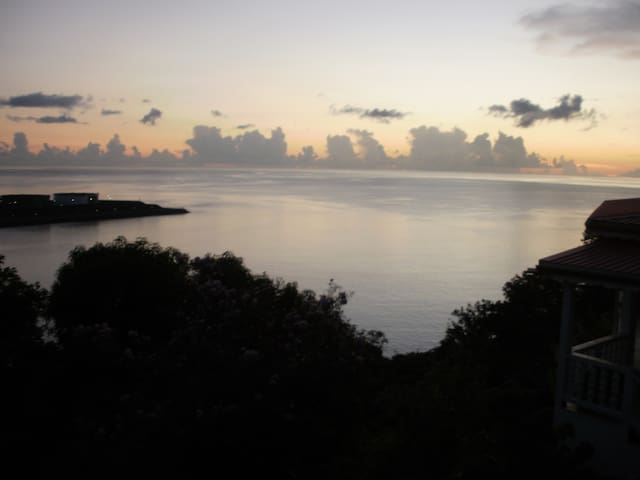 Panoramic view of Cul de Sac Bay and Caribbean Sea