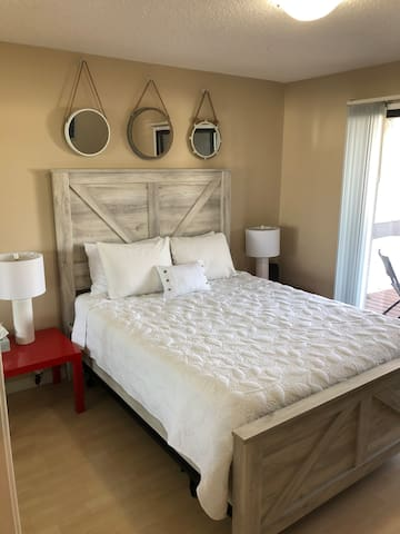 Brand new queen bed with lots of closet space.