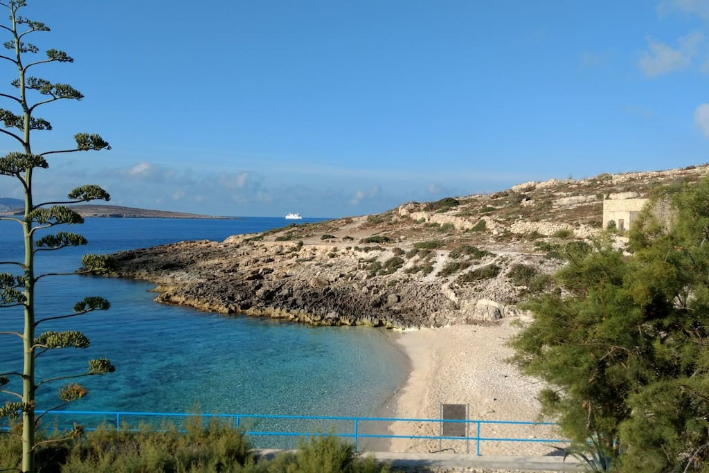 Hondoq bay a short walk from the property in the Square of Qala.