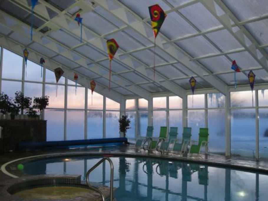 Resort indoor saltwater pool-sunset
