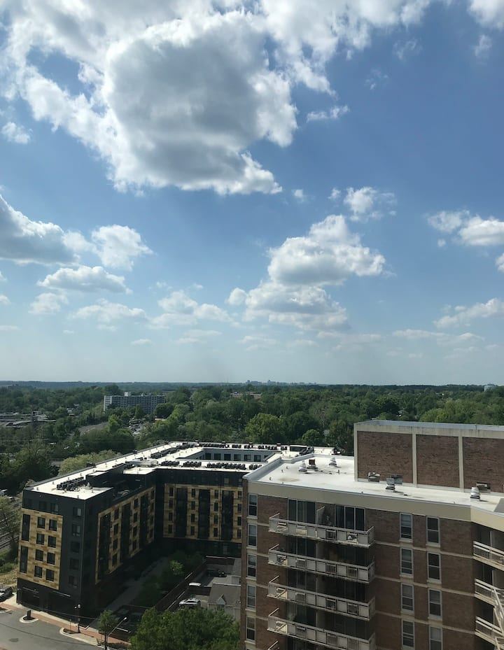 17th floor balcony views overlooking DC