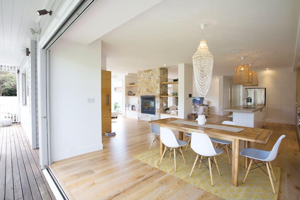 Light, sunny open plan interiors