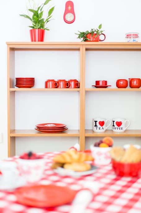 Kitchen shelf and table for four