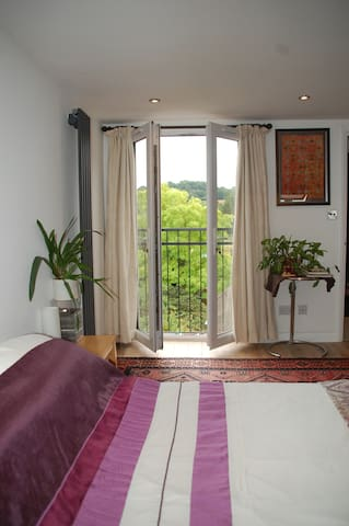 View through the French windows and Juliette balcony