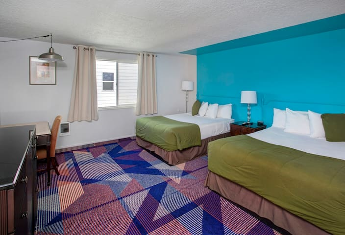 Spacious colorful two queen room