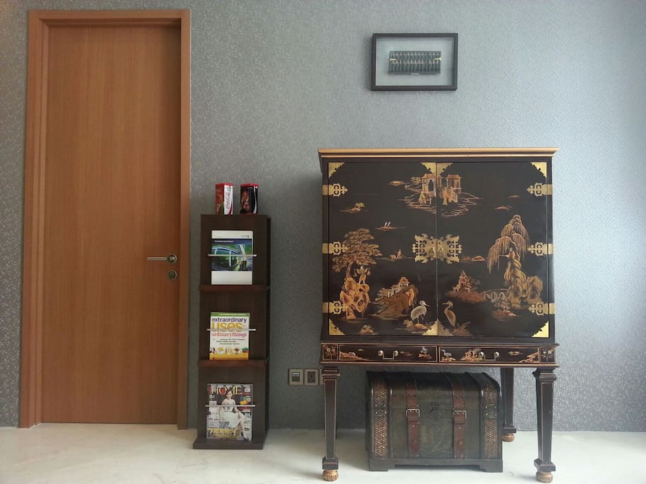 Living Hall: Antique cabinet with a touch of modern ID