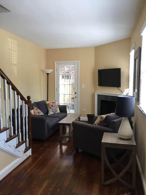 Sunny first floor living room with Cable/HDTV