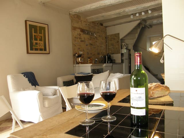 Inside Maison Felix - the kitchen and sitting area on the ground floor