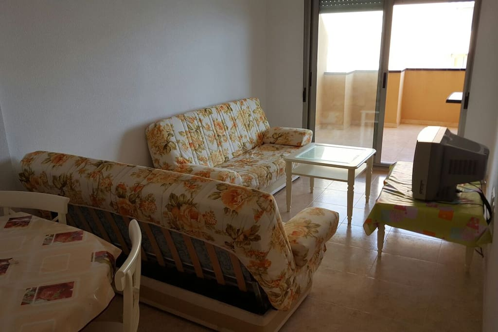 Salón con sofá cama. TV con pantalla plana (no es la de la foto).
