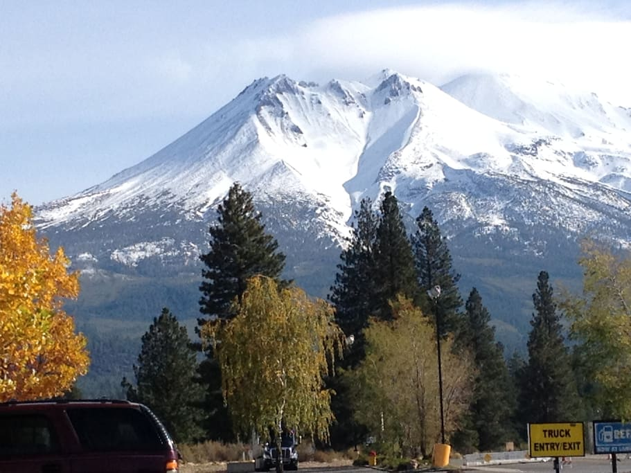 "The ""Heart"" of Mt. Shasta (the side of the mountain where we live) was carved out by snow. You can photograph this view 2 blocks south of Garden Gate Cottage in the meadow on the right side of the road."
