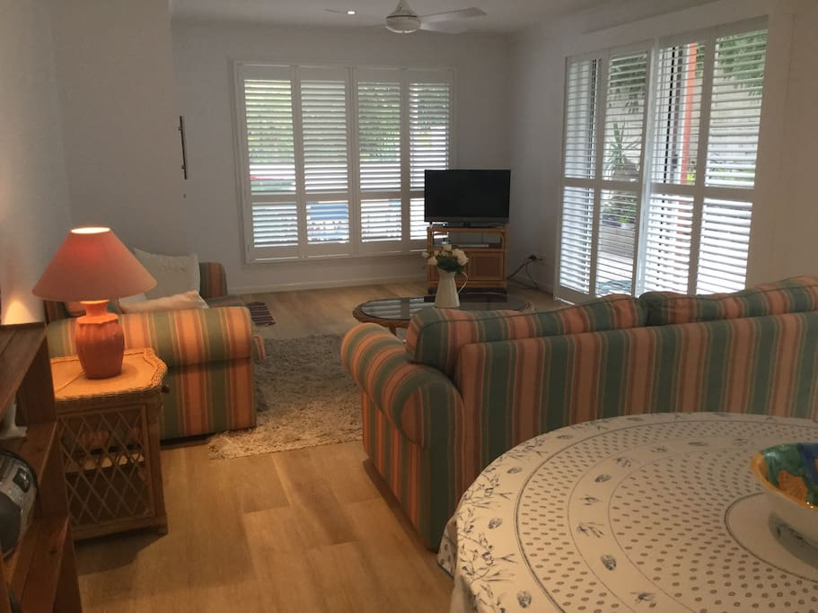 spacious seating area with sofa bed