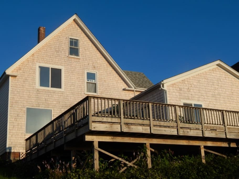 View of the house and deck from the ocean side