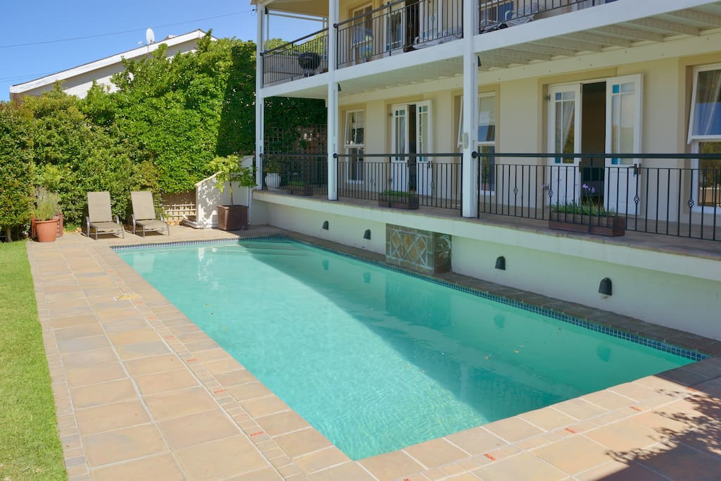 Sunny north facing rooms and balcony overlooking pool