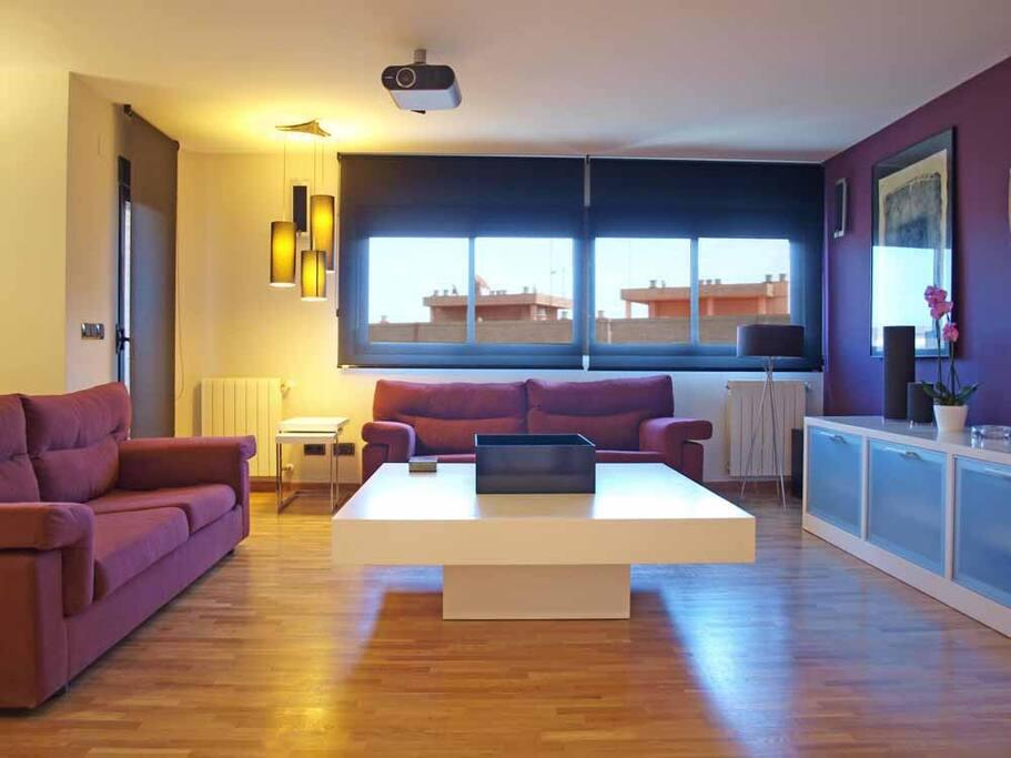 Amplio Salón con equipado con TV de alta gama. Large living room with TV equipped with high-end.