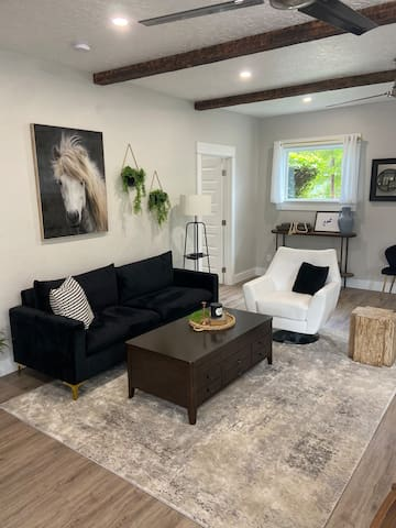 A comfortable living room to gather and relax in.