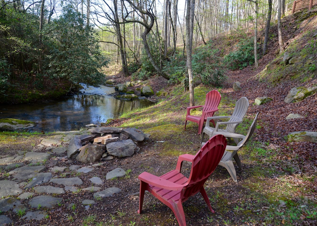 Enjoy the view from the fire pit creekside.