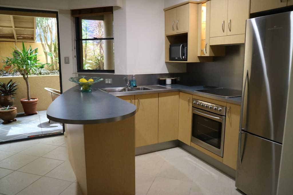 Fully-equipped kitchen with all amenities for eating in, or enjoying the local cuisines