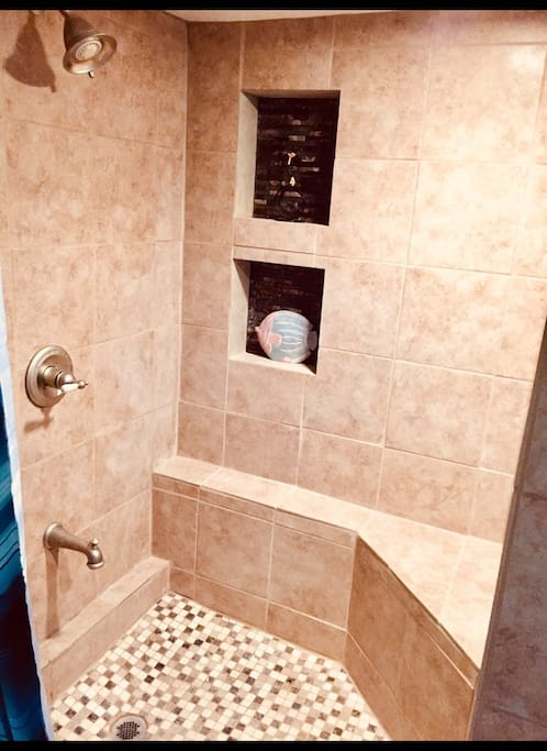 Brand new fresh 3/4 private bathroom within guesthouse complete with towels