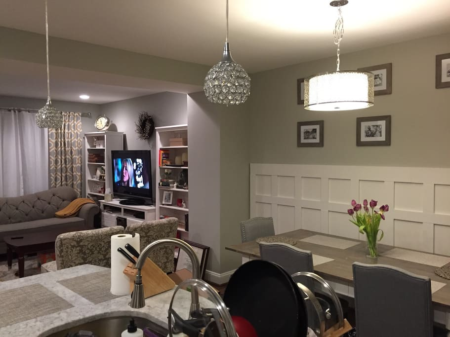 Living and dining room open concept.